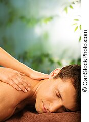 salon, spa, beau, avoir, masage, homme