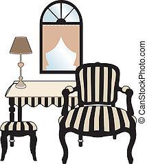 salon, style, a, grattements