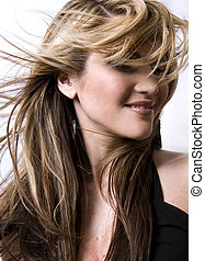 salon style - healthy beautiful long hair in motion created ...