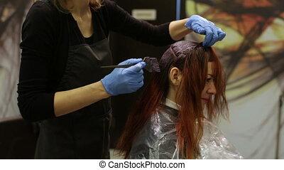 salon, styliste, beauté, peintures, cheveux, racines