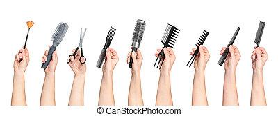 salon, tenue, isolé, collection, cheveux, fond, mains, blanc...