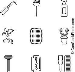 salon, udkast, skønhed, iconerne, sæt, firmanavnet, materiale