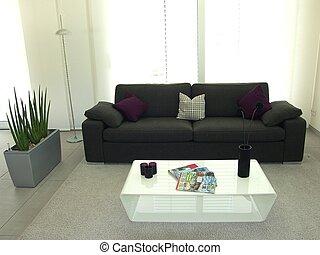 salon, vivant, moderne, -, salle