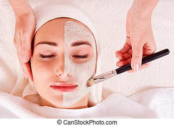 salon, vrouw, schoonheidsmasker, gezichts, krijgen