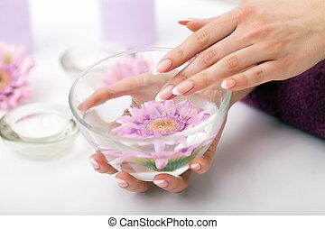 salon, vrouw, spijker, manicure, schoonheidspecialist, krijgen