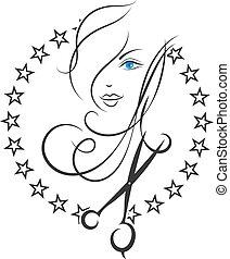 salone, bellezza, simbolo, capelli