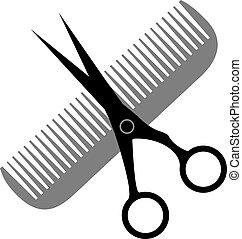 salone, capelli, disegno