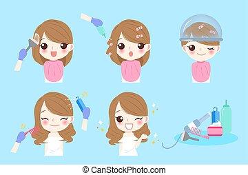 salone capelli, donna, cartone animato