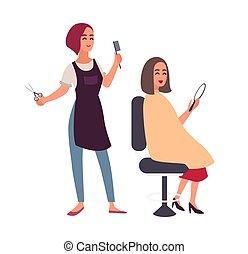 salone, capelli, femmina, sedia, sorridente, lei, parrucchiere, isolato, dall'aspetto, fondo., cliente, bianco, felice, appartamento, colorito, seduta, taglio, specchio., cartone animato, donne, illustration., vettore, lavoro parrucchiere
