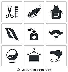 salone capelli, set, icona