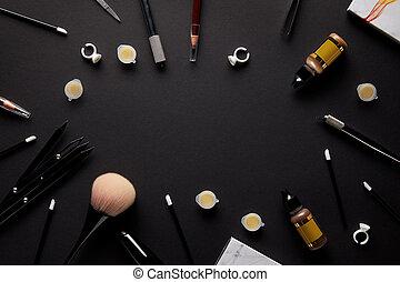salone, cima, trucco, permanente, nero, tabletop, attrezzi, vista