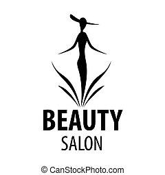salone, donna, bellezza, elegante, vettore, logotipo