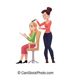 salone, donna, bellezza, parrucchiere, taglio capelli, capelli taglienti, fabbricazione