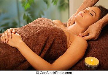 salone, donna, giovane, faccia, terme, detenere, massaggio