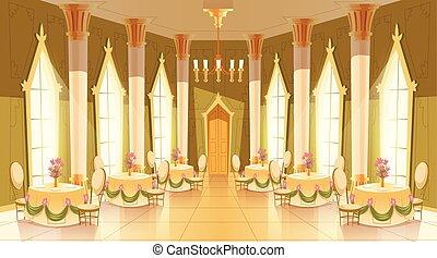 salone, liscio, vettore, castello, cartone animato