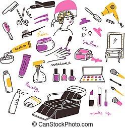 salone, set, bellezza, scarabocchiare, truccare, attrezzi