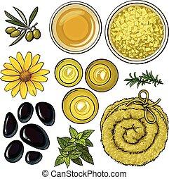 salone, set, olio, asciugamano, -, accessori, aromatico, basalto, giallo, terme, pietre, sale, massaggio, candele