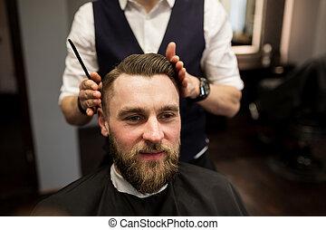 salone, taglio, capelli, barbiere, uomo, detenere, felice