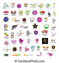 salons, logos, skønhed, samling, vektor, kosmetikker