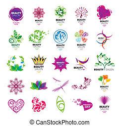 salons, logos, vektor, samling, skønhed