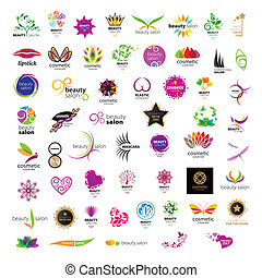salony, logos, piękno, zbiór, wektor, kosmetyki