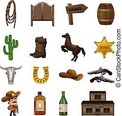 Saloon icons set, cartoon style - Saloon icons set. Cartoon ...