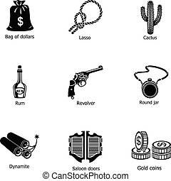 Saloon icons set, simple style - Saloon icons set. Simple...
