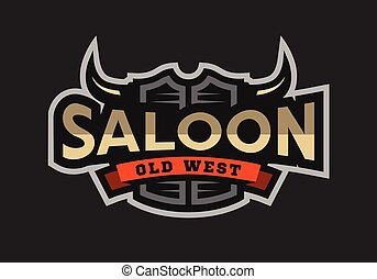 Saloon, tavern, wild west logo, emblem.