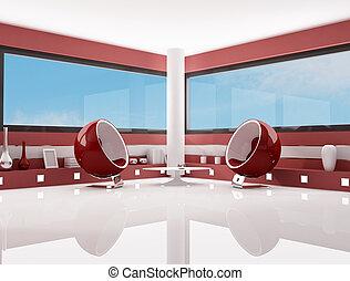 salotto, bianco, moda, rosso