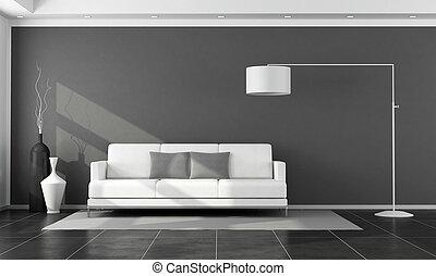 salotto, bianco, moderno, nero