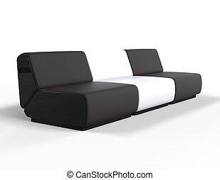 salotto, bianco, moderno, nero, sedia