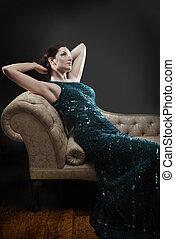 salotto, chaise, affascinante, donna