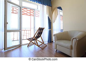 salotto, chaise, sedia, stanza