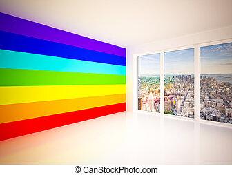salotto, colori arcobaleno, stanza