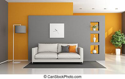 salotto, grigio, moderno, arancia