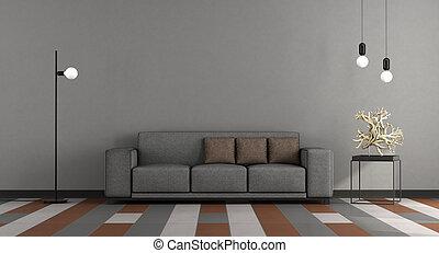 salotto, grigio, moderno, marrone