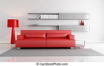 salotto, grigio, rosso
