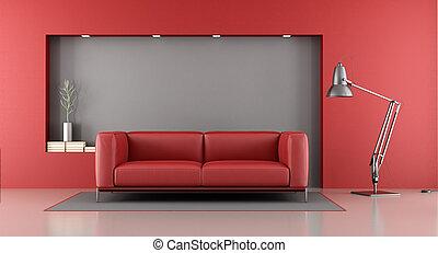 salotto, grigio, rosso, minimalista