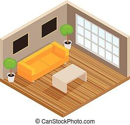 salotto, interno, isometrico, stanza
