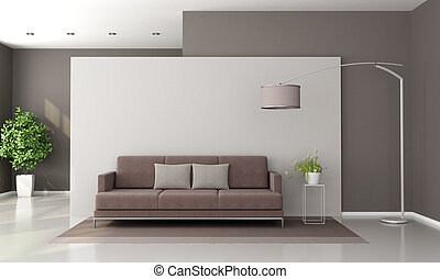 salotto, marrone, bianco, moderno