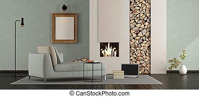 salotto, minimalista, caminetto