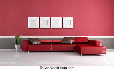 salotto, minimalista, contemporaneo, divano