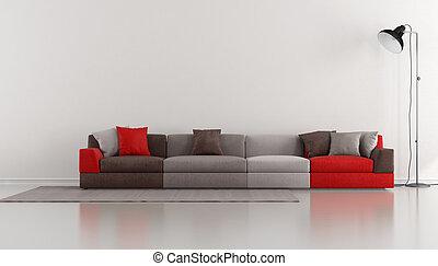 salotto, minimalista, moderno, colorito