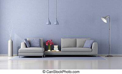 salotto, minimalista, moderno, divano