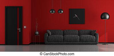 salotto, minimalista, nero rosso