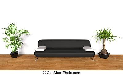 salotto, piante, stanza bianca