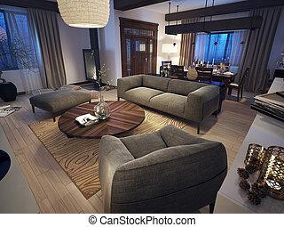 salotto, rustico, stile, stanza