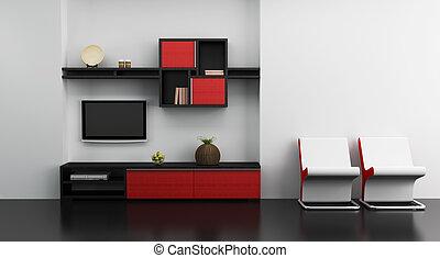 salotto, stanza, interno, con, scaffale, e, tv