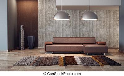 salotto, stanza, lusso, render, 3d