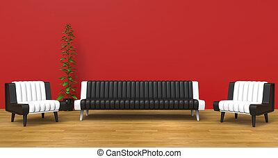 salotto, stanza, rosso